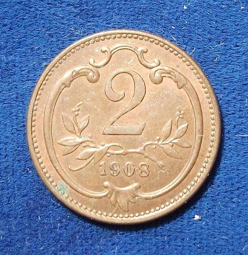 1908 Austria 2 Heller AU+