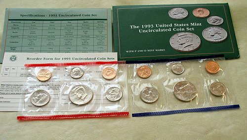 1993 Ten Coin US Mint Uncirculated Coin Set In Original Package