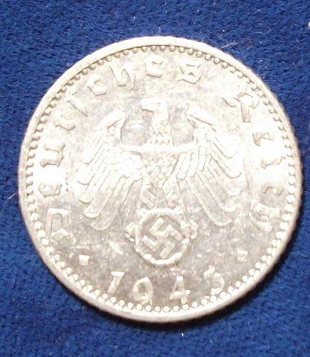 1943A Nazi Germany 50 Reichspfennig AU