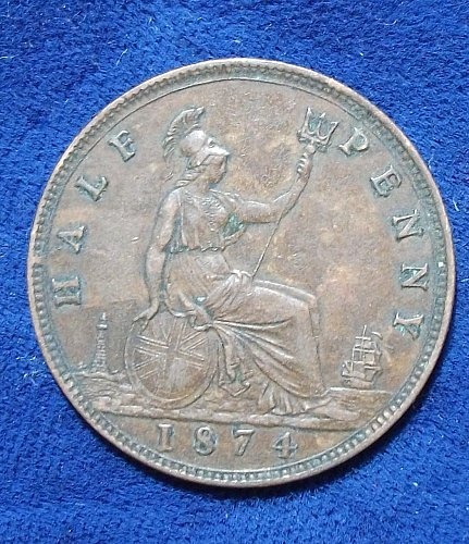 1874 Great Britain Half Penny Six berries, small date, VF
