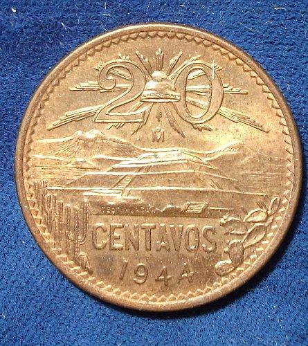 1944 Mexico 20 Centavos AU++