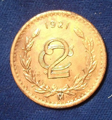 1921 Mexico 2 Centavos UNC details, lightly cleaned.
