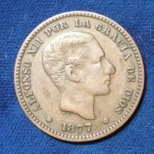 1877OM Spain 5 Centimos VF+