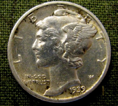 1939 D mercury Dime BU  FULL SPLIT BANDS--A-29