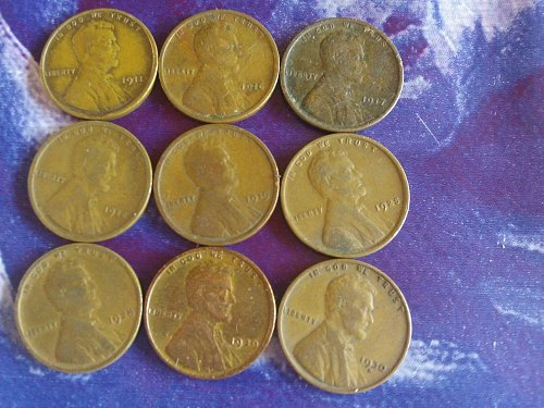 Wheat pennies from 1911 untill 1930