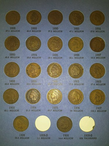 1888-1909 22 pcs lot Indian Head Pennies