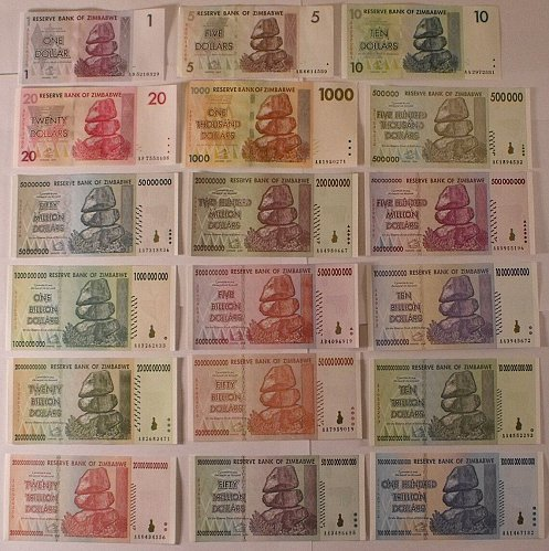 Lot of 18 Zimbabwe Banknotes (Ranging from 1-100,000,000,000 dollars) Legal Tend