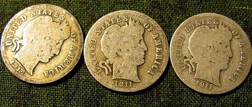 1911,1911 D & 1914 Barber Dimes +  3 FREE Mercury dimesA-45a