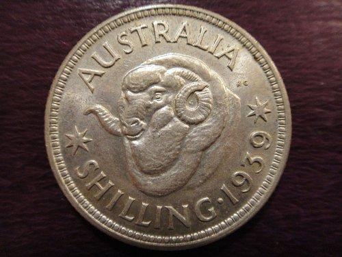 AUSTRALIA Shilling 1939-M (KEY DATE) AU-53 90% SILVER 0.1680 ASW KM#39