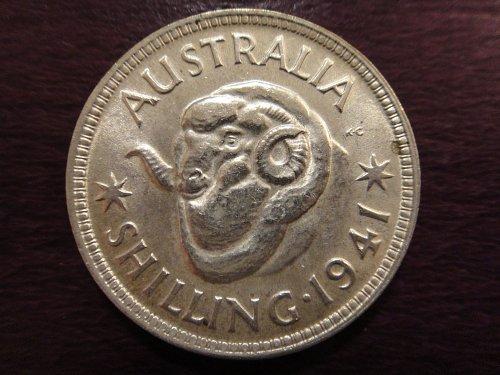 AUSTRALIA Shilling 1941-M MS-60 (BU) 92.5% SILVER 0.1680 ASW KM#39