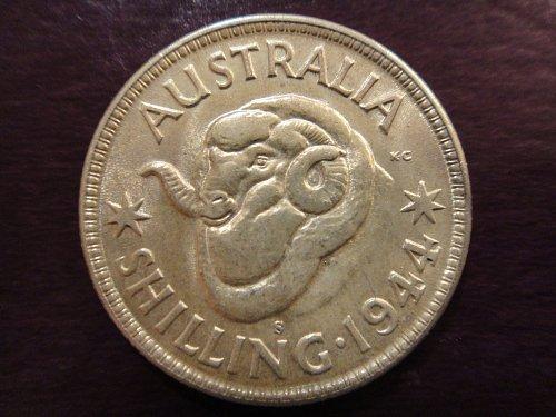 AUSTRALIA Shilling 1944-S MS-60 (BU) 92.5% SILVER 0.1680 ASW KM#39