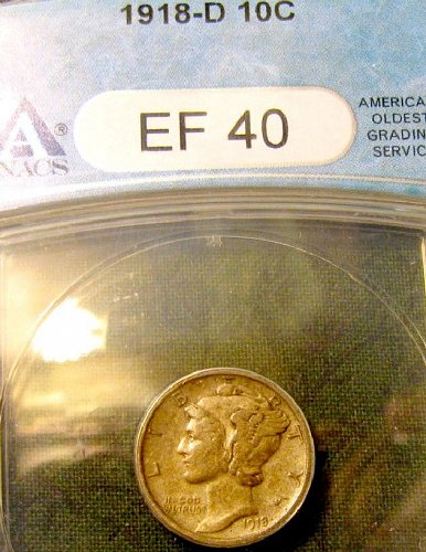 1918 D Silver Mercury Dime Honey of a CERTIFIED coin!!  A-56