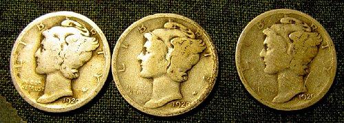 1920 P,D, & S Mercury Dimes + 2 FREE DIMES!! A-51