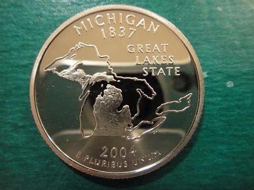 Statehood Quarter 2004-S Michigan Clad Proof-65 (GEM)