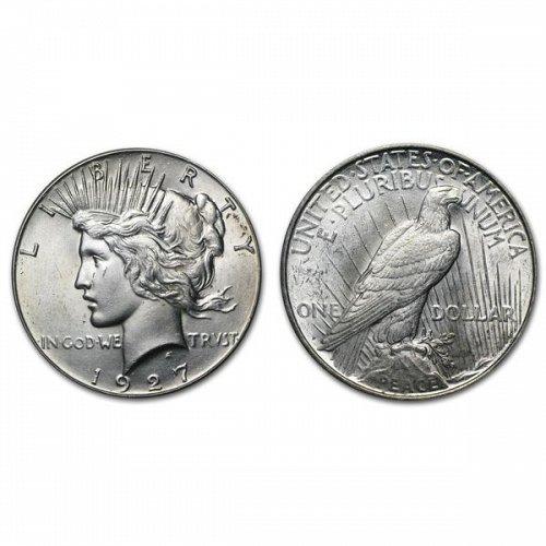 1927 D Peace Silver Dollar - BU