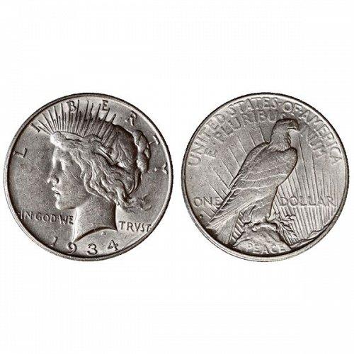 1934 D Peace Silver Dollar - AU