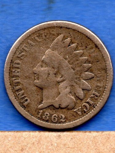 1862 CN Indian Head Penny Genuine natural US Coin