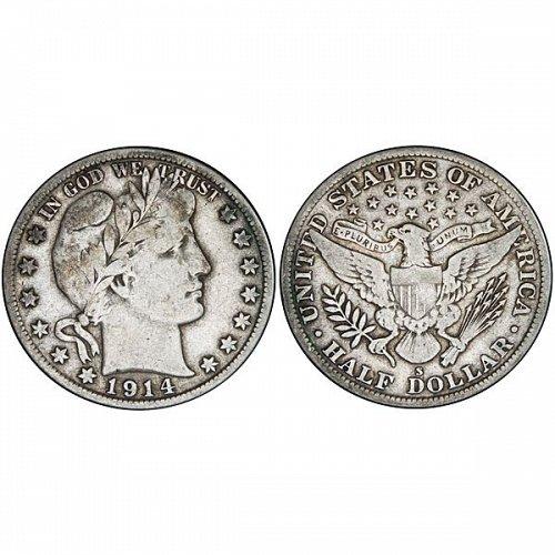 1914 S Barber Half Dollar - Fine