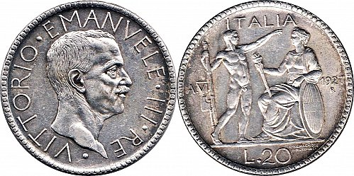 Italy Vittorio Emanuele III 20 lire 1927