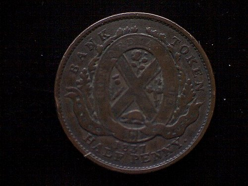 "1837 LOWER CANADA CITY BANK  1/2 PENNY ""TOKEN"""