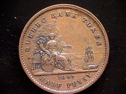 "1852 LOWER CANADA  1/2 PENNY TOKEN  ""QUEBEC BANK"""