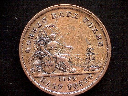 "1852 LOWER CANADA  1/2 PENNY TOKEN  ""QUEBEC BANK"""