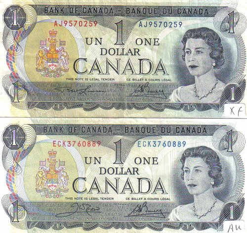 1973 OTTAWA 2 DIFFERENT $1:00 CANADA NOTES