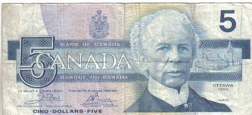 1986 $5.00 NOTE from OTTAWA, CANADA