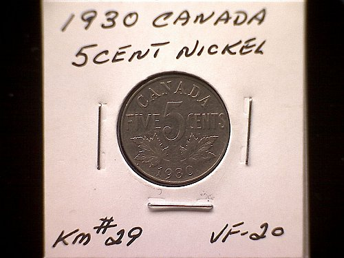 1930 CANADA KING GEORGE V  FIVE CENT COIN