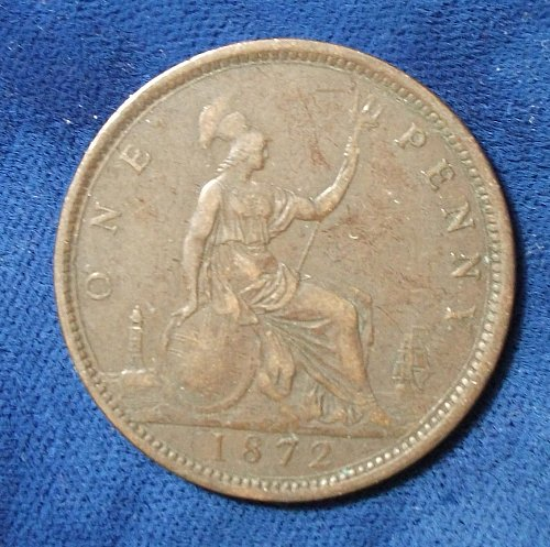 1872 Great Britain Penny F-VF