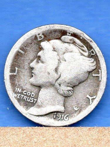 1916 Mercury Head Dime Genuine Natural US Coin