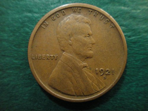 """1921-S Lincoln Cent Very Fine-25 Nice Chocolate Brown With a Sharp """"S"""""""
