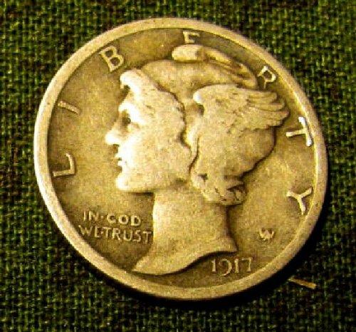 1917 P mercury Dime good strike hard find-- +  2 FREE 1930's Dimes**A-60