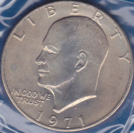 1971 D Eisenhower Dollar: Type 2 - Common Reverse