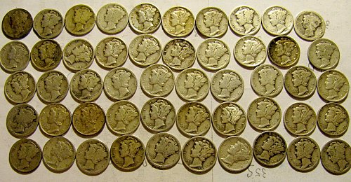 rollMercury Dimes Teens,20's 30's only!!! a TREASURE! + 3 free DIMES!!    A-61