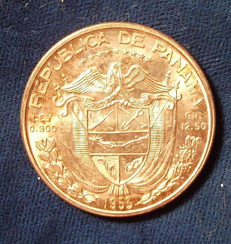 1953 Panama 1/2 Balboa UNC One Year Type