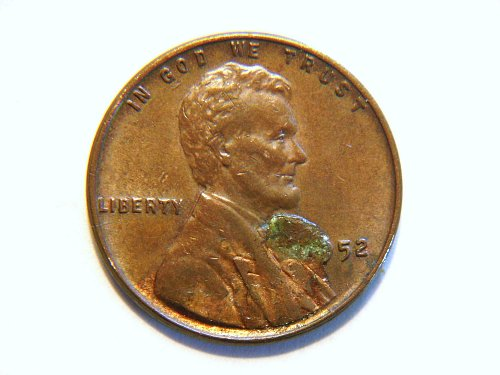 1952-P Lincoln Wheat Cent Die Error Coin