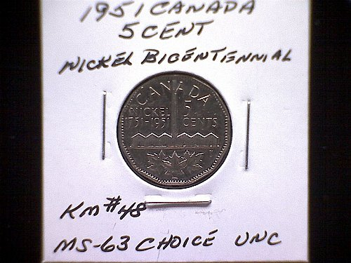 1951 CANADA KING GEORGE V1  BICENTENNIAL COMMEMORATIVE 5 CENT COIN