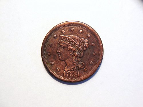 1851 Braided Hair Liberty Head Large Cent