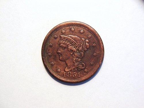 1851 Braided Hair Liberty Head Large Cent