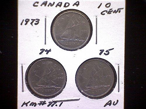 "1973-74-75 CANADA QUEEN ELIZABETH 10 CENT COINS  ""3 COIN LOT"""