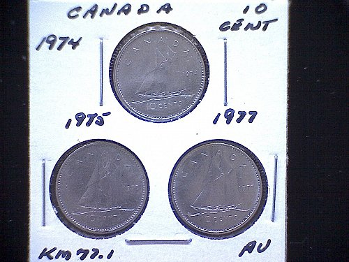 "1974-75-77  CANADA  QUEEN ELIZABETH 11  10 CENT COINS  ""3 COIN LOT"""
