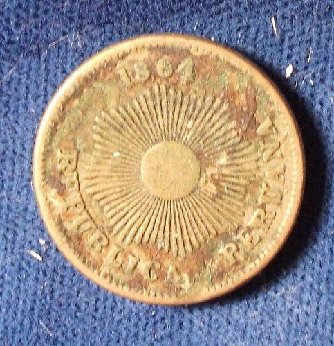 1864 Peru Centavo VF
