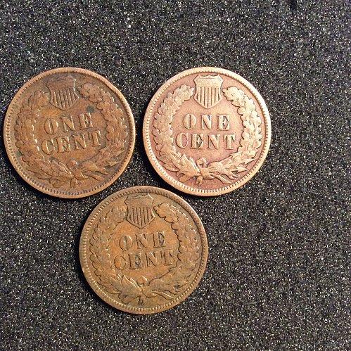 1897-p,1907-p.1908-p indian head pennys
