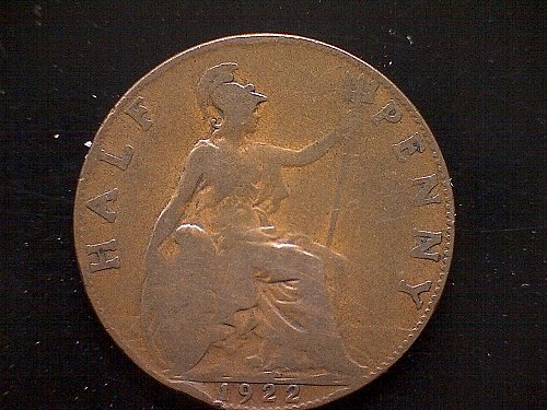 1922 GREAT BRITAIN KING GEORGE V  HALF PENNY