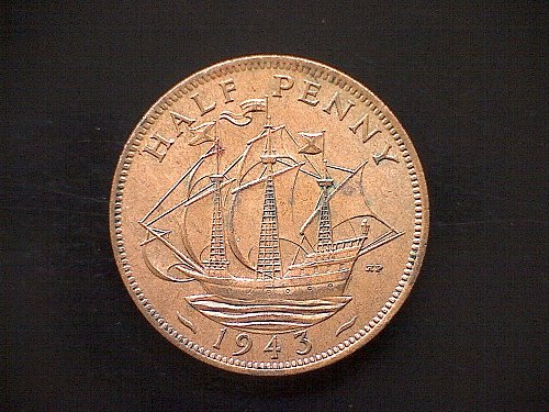 1943 GREAT BRITAIN KING GEORGE V1  HALF PENNY