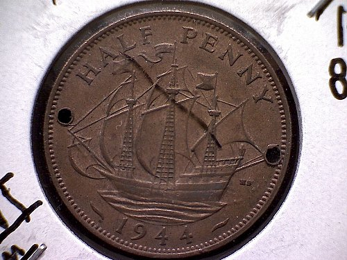 1944 GREAT BRITAIN KING GEORGE V1  HALF PENNY
