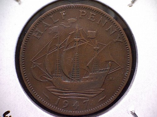 1947 GREAT BRITAIN KING GEORGE V1  HALF PENNY
