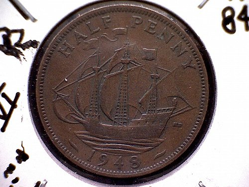 1948 GREAT BRITAIN KING GEORGE V1  HALF PENNY