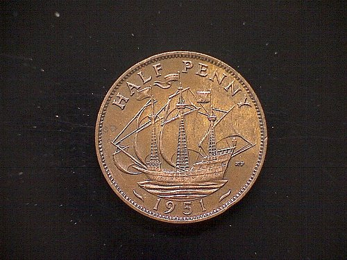 1951 GREAT BRITAIN KING GEORGE V1  HALF PENNY